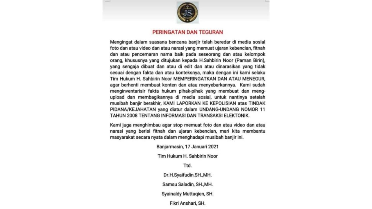 [Rilis Bersama] Koalisi Masyarakat Sipil Mengecam Somasi Gubernur Kalsel